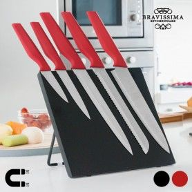 Couteaux avec Support Magnétique Bravissima Kitchen (6 pièces)