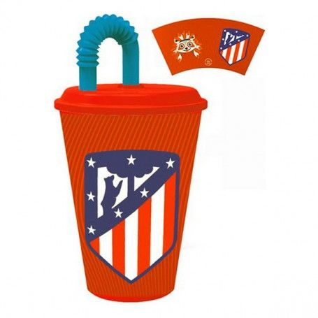 Glass with Lid Atlético Madrid Plastic