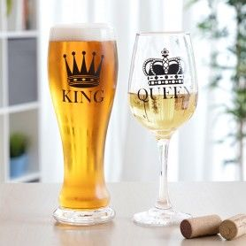 Glass and Wine Glass Set King & Queen 2 Pieces