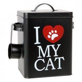 Boîte métallique d'aliments pour chats 112818 Noir (23 X 18 cm)