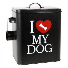 Boîte métallique d'aliments pour chiens 112801 Noir (30 X 25,5 cm)