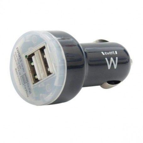 Car Charger Ewent EW1203 2 x USB 2.0 2,1 A Black
