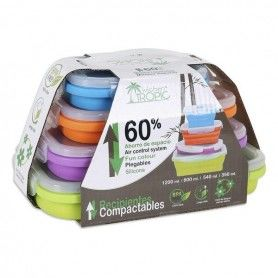 Set of 4 lunch boxes Kitchen Tropic Rectangular (4 Uds)