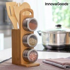 Ensemble de range-épices magnétiques avec des ustensiles en bambou Bamsa InnovaGoods 7 Pièces