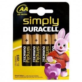 Alkaline Batteries DURACELL Simply DURSIMLR6P4B LR6 AA 1.5V (4 pcs)