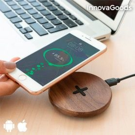 InnovaGoods Wireless Wooden Fast Charger Walnut