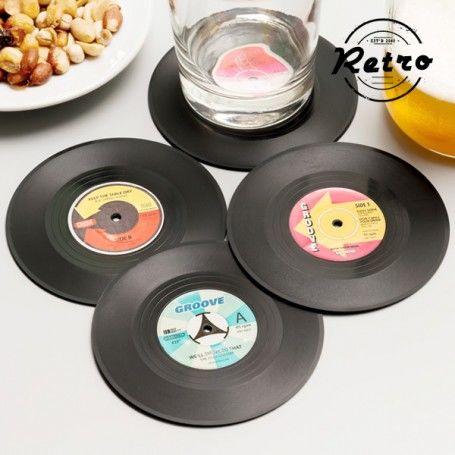 Vintage Vinyl Record Coasters (set of 4)