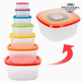Fiambreras con Tapas de Colores Bravissima Kitchen (7 piezas)