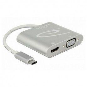 Adaptador USB C a VGA/HDMI DELOCK 87705 15 cm Plateado