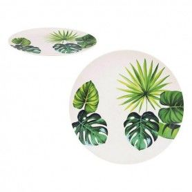 Plate Privilege Bamboo White Green