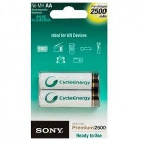 Piles Rechargeables Sony Ni-MH, AA, 2500 mAh NH-AAB2GN 1,2 V 2500 mAh (2 pcs) Blanc Vert