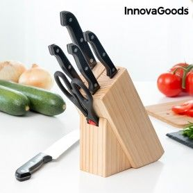 InnovaGoods Wooden Knife Block Set (6 Pieces)