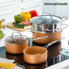 Batterie de Cuisine avec Cuiseur-Vapeur Copper-Effect InnovaGoods (6 Pièces)