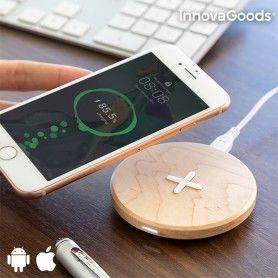 InnovaGoods Wireless Wooden Fast Charger Maple