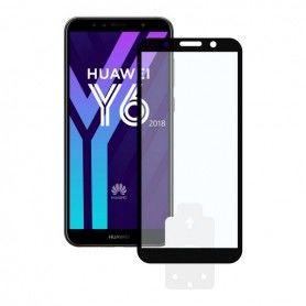 Film Protecteur en Verre Trempé pour Téléphone Portable Huawei Y6 2018 2.5D Noir
