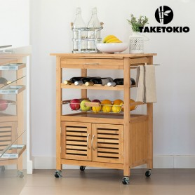 TakeTokio Bamboo Kitchen Trolley