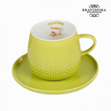 Tasse avec soucoupe verte - Collection Kitchen's Deco by Bravissima Kitchen