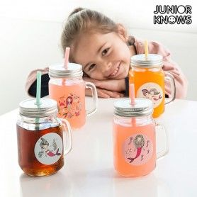 Jarras con Tapas y Pajitas Sirenas Junior Knows (Pack de 4)