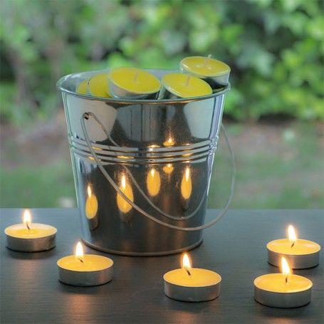 Bougies à la Citronnelle avec Seau Décoratif (50 Bougies)